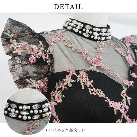 フラワー刺繍ハイネックaラインミニドレス(a19046)