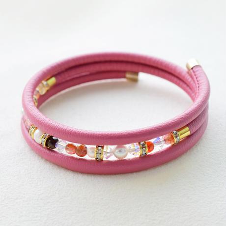 アコヤ本真珠×天然石 三連ブレスレット ピンク【1本】