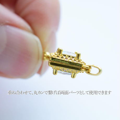 【全2色】ミル打ちラインストーンチャーム ひし形 2個