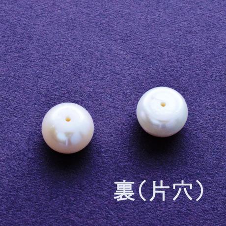淡水パール ホワイト ボタン 10.5~11mm 片穴【1ペア】