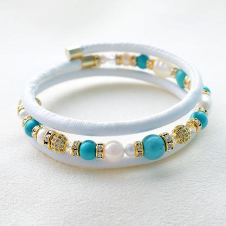 アコヤ本真珠×天然石 三連ブレスレット ホワイト【1本】