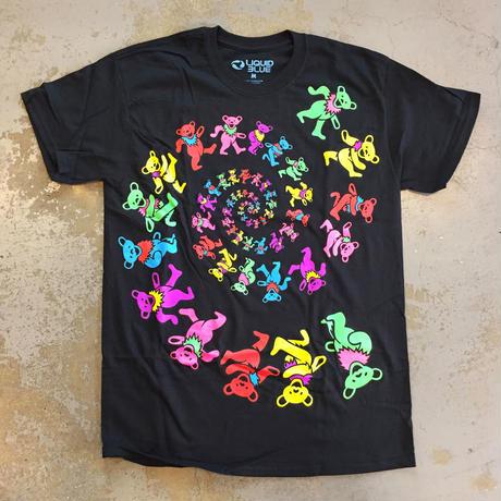 グレイトフル デッド・スパイラル ブラックライト ベアーズ T-シャツ