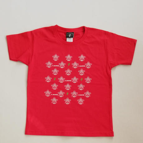 キッズ ガイコツ×サボテン Tシャツ レッド