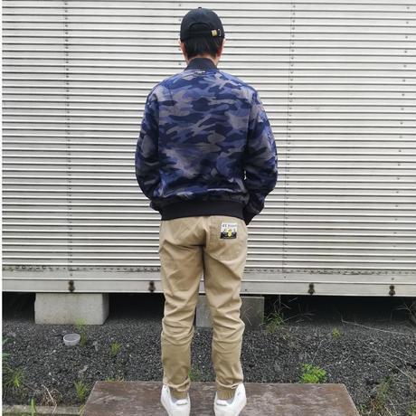エルハラペーニョ ワッペン 刺繍MA1ジャケット ネイビーカモフラ