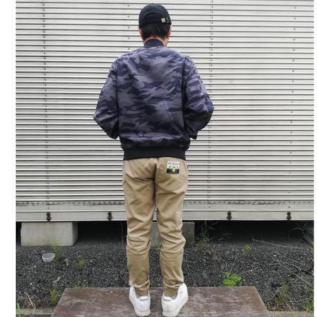 エルハラペーニョ ワッペン 刺繍MA1ジャケット グレーカモフラ
