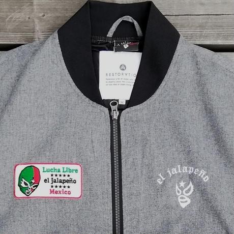 エルハラペーニョ ワッペン 刺繍MA1ジャケット グレー