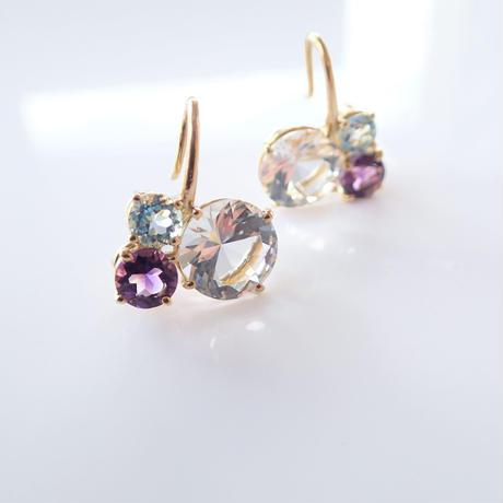 Bubble earrings(クリアクォーツ/アメジスト/スカイブルートパーズ)