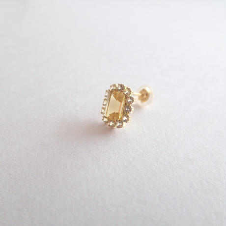 Sparkle earrings studs(イエローベリル・スクエア)
