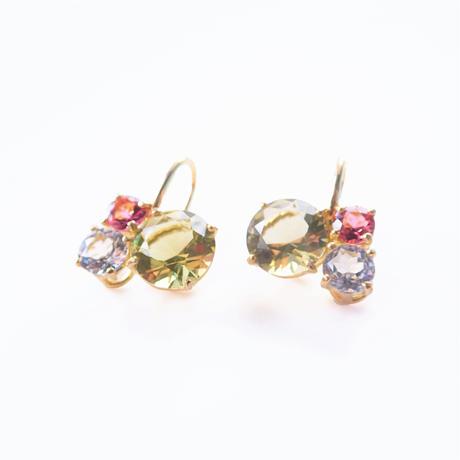 Bubble earrings(レモンクォーツ/ホワイトトパーズ/ピンクトルマリン)