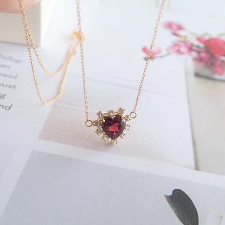 Sparkle heart pendant(ガーネット)