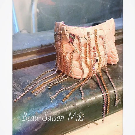 Bracelet using  crocodile leather color of pink with race and Rhinestone