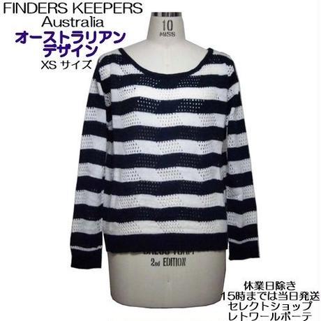 Finders Keepers 定番ボーダーのニットセーター 長袖 アクリル製 ミッドナイトブルー お洒落なボーダー柄 レディース 海外ブランド