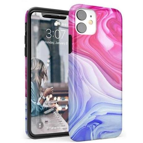 iphone11 ケース 渦巻大理石アート TPU アクセサリー グラデーション おしゃれ Land Sea Marble