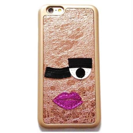 mabba マッバ iphone6 iphone6s ケース フェイス 刺繍 本革 レザー Mrs Twinkle 6 6s ゴールド ハード