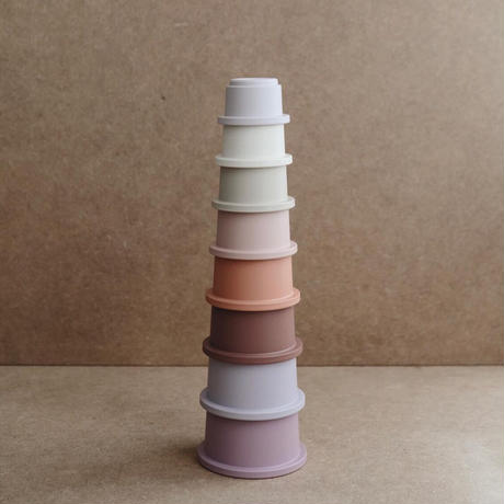 Mushie Stacking Cups Toy | Made in Denmark (Petal)