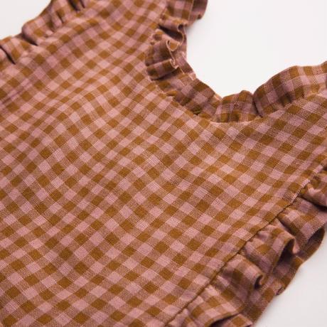 Nellie Quats Marlow Pinafore - Rose & Caramel Check Linen