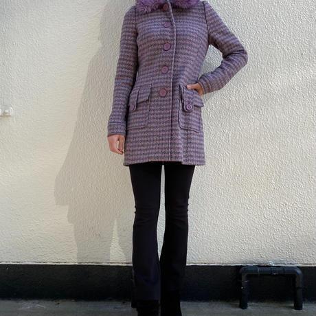 【Used】Lavender plover print coat / ラベンダー色千鳥柄コート
