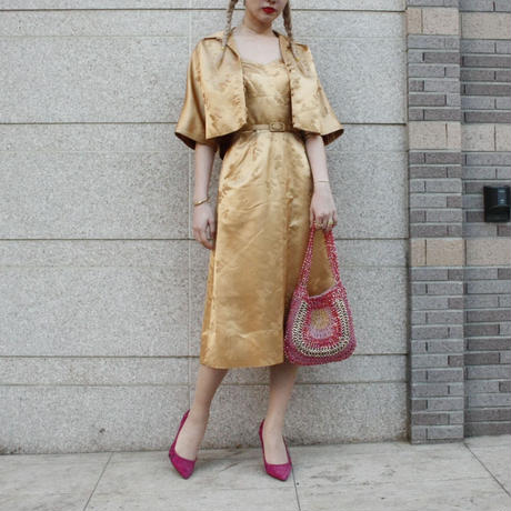 【Vintage】 DYNASTY 1950's Vintage Gold bolero dress /ボレロ付きゴールドドレス