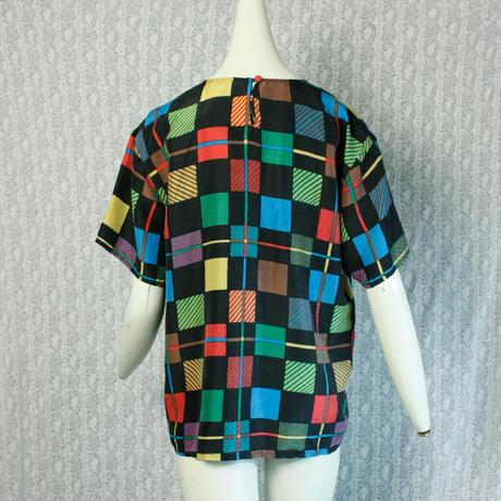 Vintage【CAROL HORN work shop】 Colorful Square Silk Tops