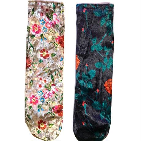 【Selected item】Velours flower socks / 花柄ベロアソックス