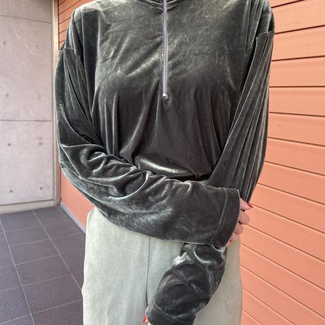 【Used】Half zipper velours tops / ハーフジップベロアトップス
