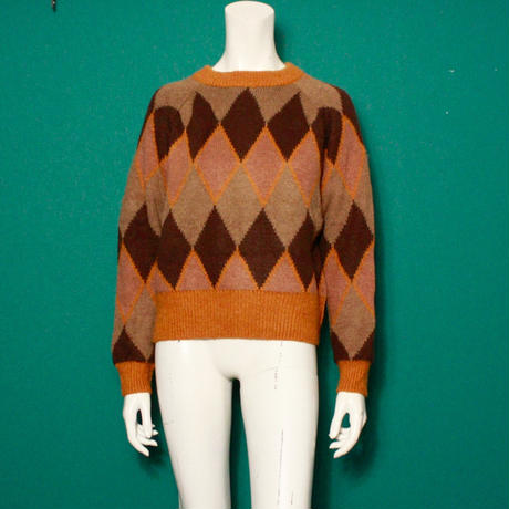 【migration】Argyle check knit sweater / mg-134 / アーガイルチェックセーター