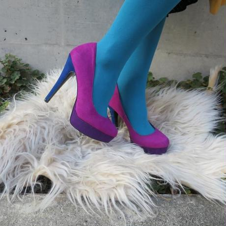 Bi-color Purple Suede Heel【ELLE】