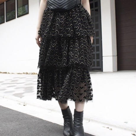 【migration】Hearts patten tulle tiered skirt / ハート柄チュールティアードスカート