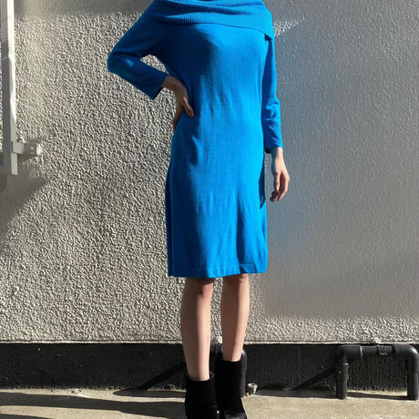 【Used】Turquoise blue knit dress / ターコイズブルーニットワンピース