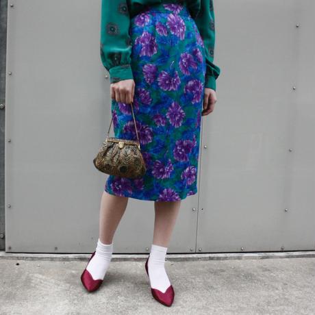 【Used】Flower design silk skirt / 花柄シルクペンシルスカート