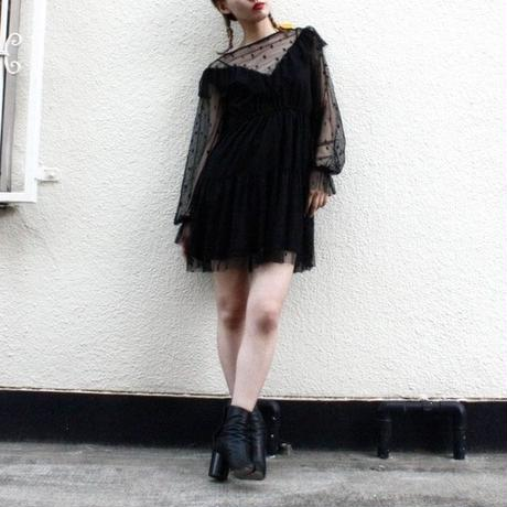 【migration】Dots tulle design one-piece / ドット柄チュールワンピース