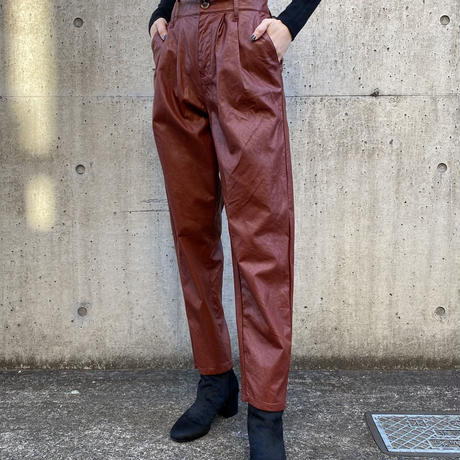 【Used】Brown faux leather pants / フェイクレザーパンツ