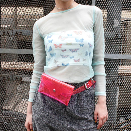 【Used】DNKY JEANS blue tulle tops / ブルーチュールトップス