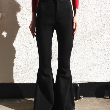 "【migration】""BLACK""Super flare denim pants / ブラックスーパーフレアデニムパンツ / mg422"
