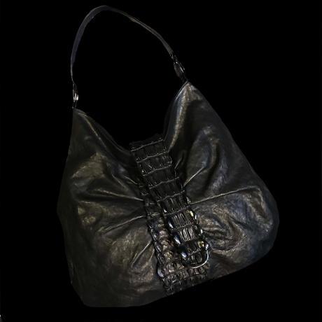 【Used】Crocodile design leather shoulder bag / クロコ調レザーショルダーバッグ