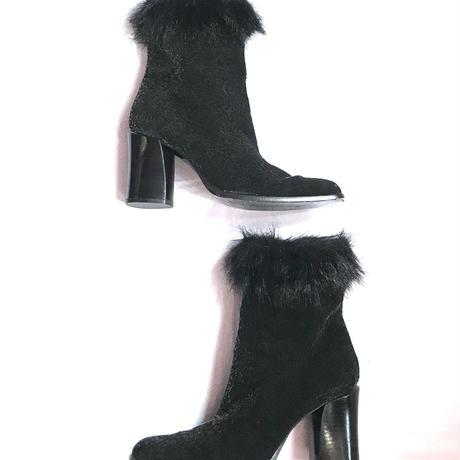 【Used】Fur velours leopard short boots / ファー付きレオパード柄ショートブーツ
