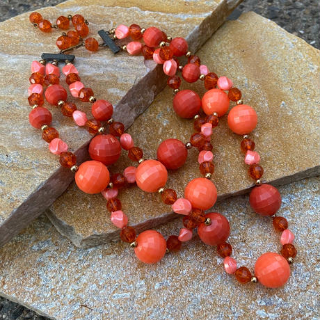 """【Used】Triple bead necklace """" Coral """" /  三連ビーズネックレス"""