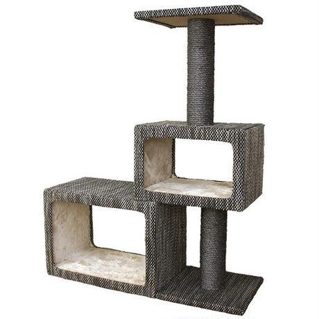 オシャレなファブリックを使用したシンプルなキャットタワー,爪とぎ付き,ネコちゃんのストレス解消にも最適。適度な高さ