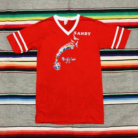 80's sport-T Vネック レインボー アイロンプリント Tシャツ