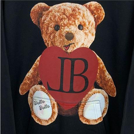 belle belle (ベルベル) Teddy bear heart パーカー ブラック