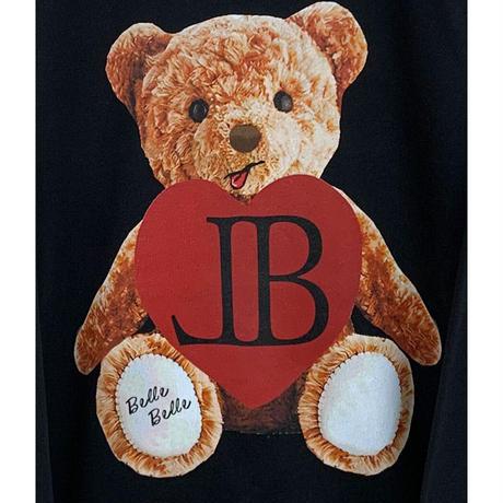 belle belle (ベルベル) Teddy bear heart トレーナー  ブラック