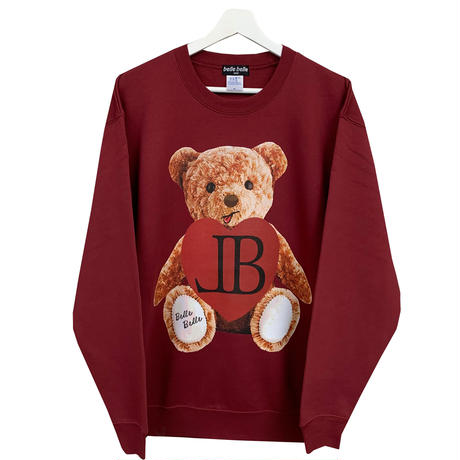 belle belle (ベルベル) Teddy bear heart トレーナー  ボルドー