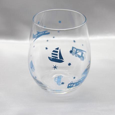 【全2色】【乗り物】ぽっちゃりグラス