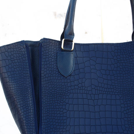 Croco Doublezip Tote/NVY