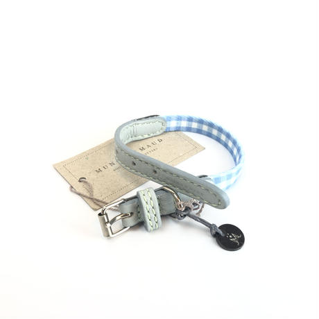 ドッグカラー チェック柄 ライトブルー/ミント