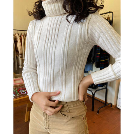 made in Italy white rib turtleneck sweater