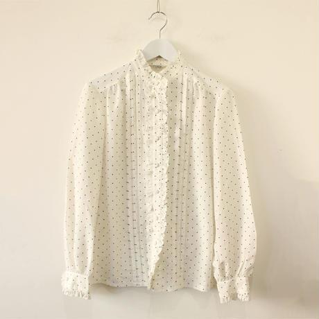 dot frill neck blouse