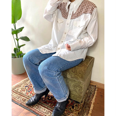 gingham check quilting shirt