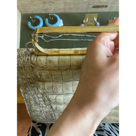 gold handle square bag