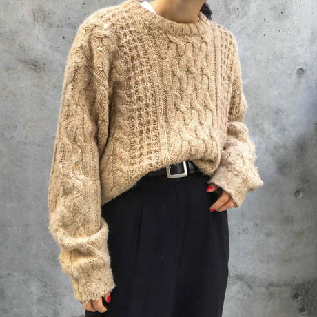 beige cable knit